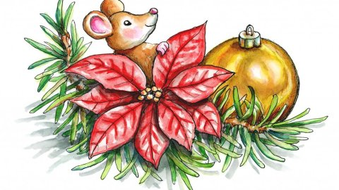 Christmas Mouse Poinsettia Ornament Watercolor Illustration Painting