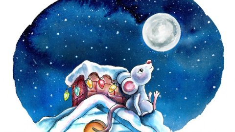 Night Sky Christmas Lights Chimeny Mouse Waiting Up For Santa Watercolor Illustration Painting