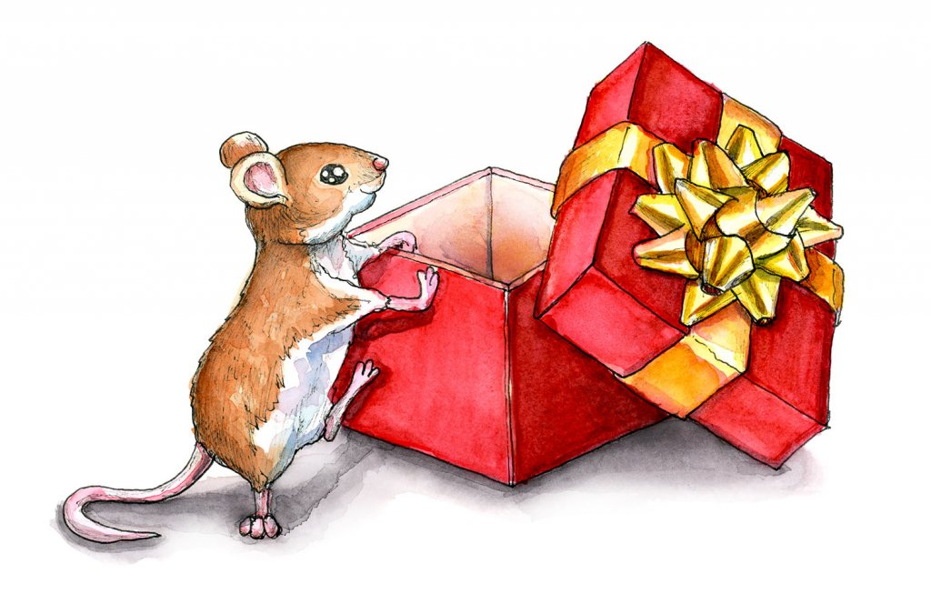 Christmas Mouse Last Gift Present Watercolor Illustration Painting