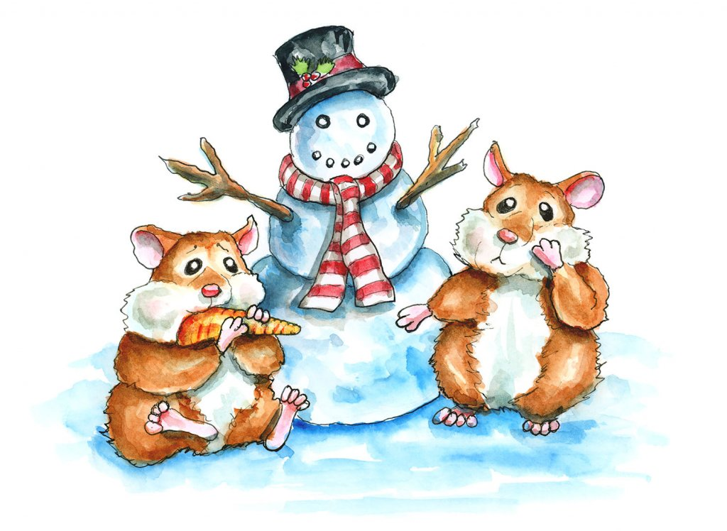 Snowman Two Hamsters Eating Carrot Nose Winter Watercolor Illustration Painting