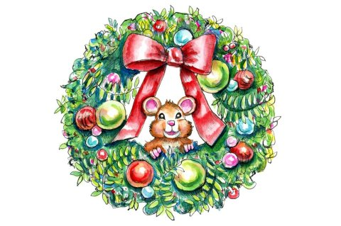 Christmas Wreath Holiday Mouse Watercolor Illustration Painting