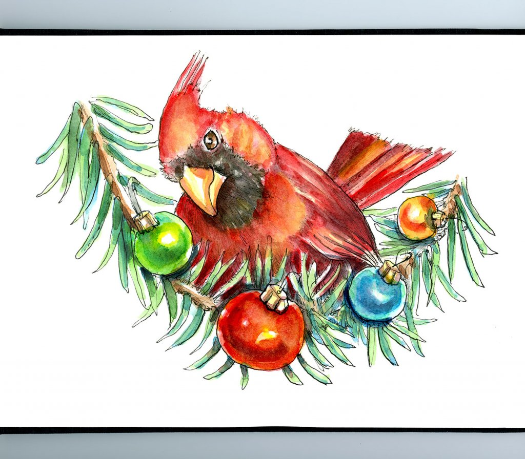 Cardinal Red Bird Ornaments Christmas Watercolor Illustration Painting Sketchbook Detail