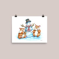 Hamsters Building A Snowman Watercolor Print