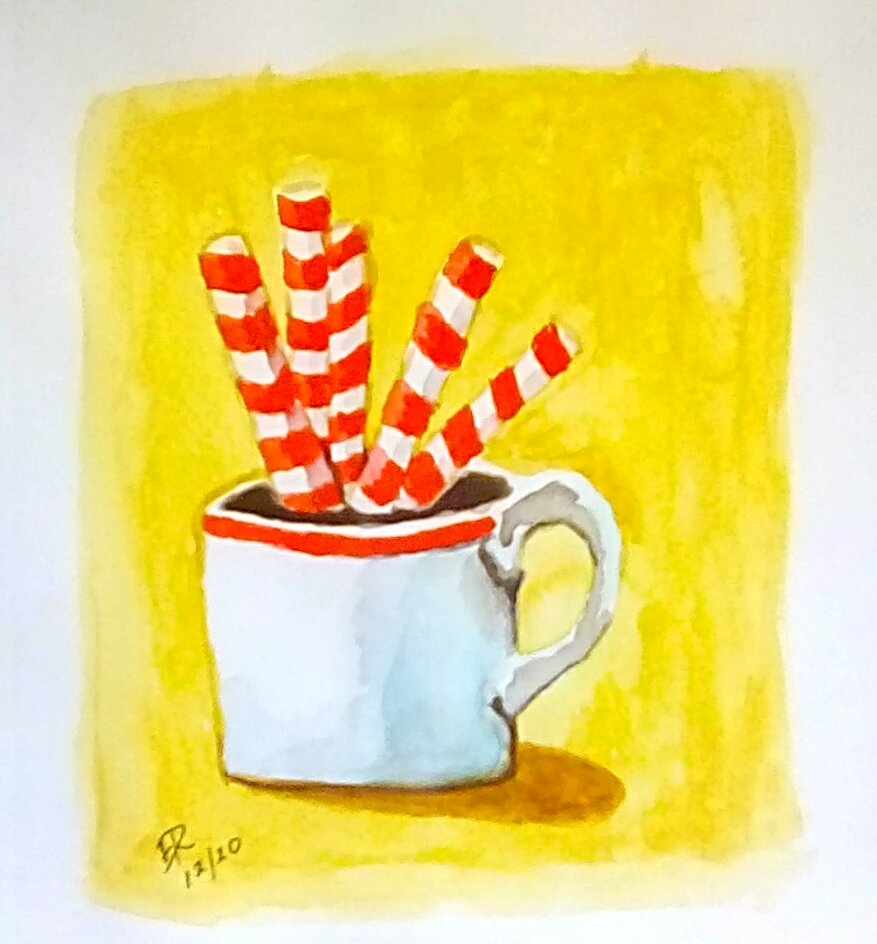 "Today's watercolor challenge ""Peppermint"" . A holiday favorite mint coffee. IMG_20"