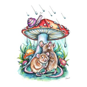 Two Mice Hiding Under Mushroom Rain Illustration Watercolor Print Detail