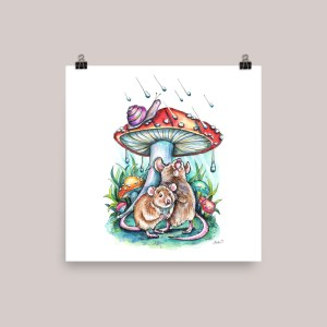 Two Mice Hiding Under Mushroom Rain Illustration Watercolor Print
