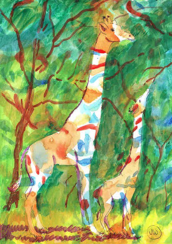 Giraffe doodle wash giraffes1
