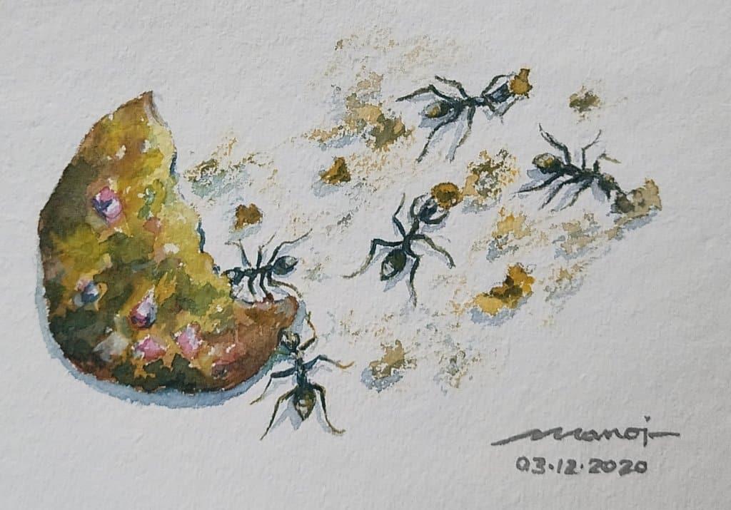 Dt:03.12.2020 Promp: COOKIES Watercolor painting on handmade paper inbound8117761858857825307