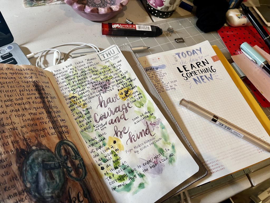 """For Modern today, I did a quick lesson from the book """"Modern Watercolor"""" by Kristen Van Leuven."""
