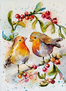 Birds English Robin Berries Watercolor Painting by Ashwini Rudrakshi