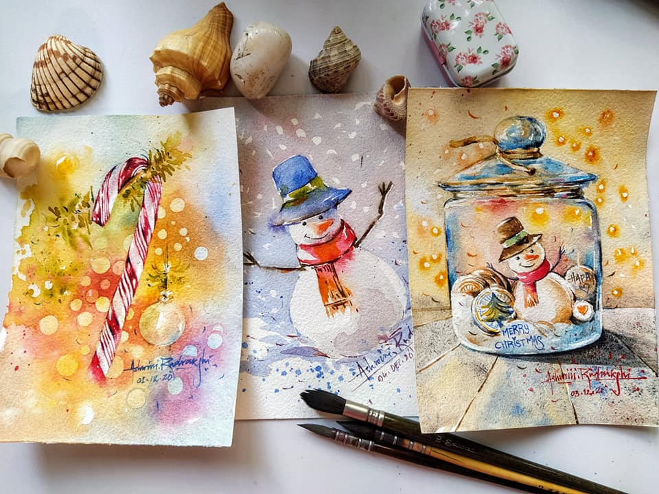 Christmas Snowman Candy Watercolor Paintings by Ashwini Rudrakshi