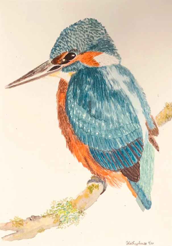 KINGFISHER BLK MAT Watercolor by Kathy Lee