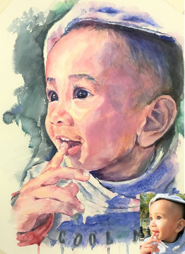 Little Child Portrait Finger In Mouth Watercolor painting by by Vishal Jain