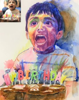 Little Happy Birthday Boy Portrait Watercolor painting by by Vishal Jain