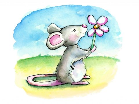 Mouse With Flower Watercolor Childrens Illustration