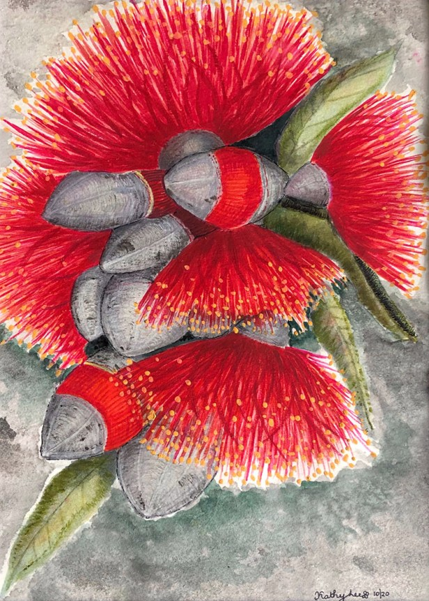 RED CASCADE Flower Top View Watercolor by Kathy Lee
