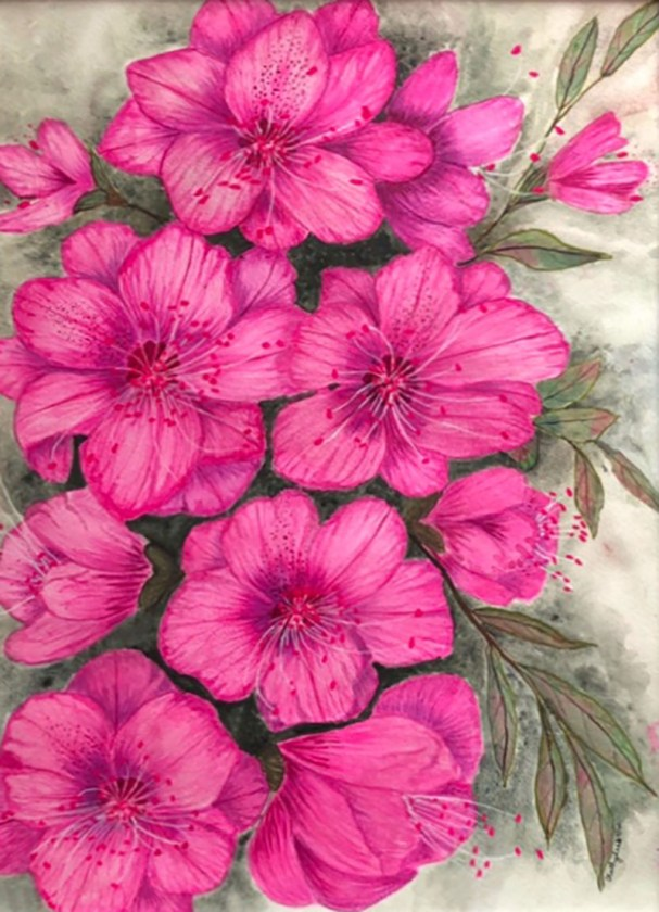 RHAPSODY IN HOT PINK Watercolor by Kathy Lee