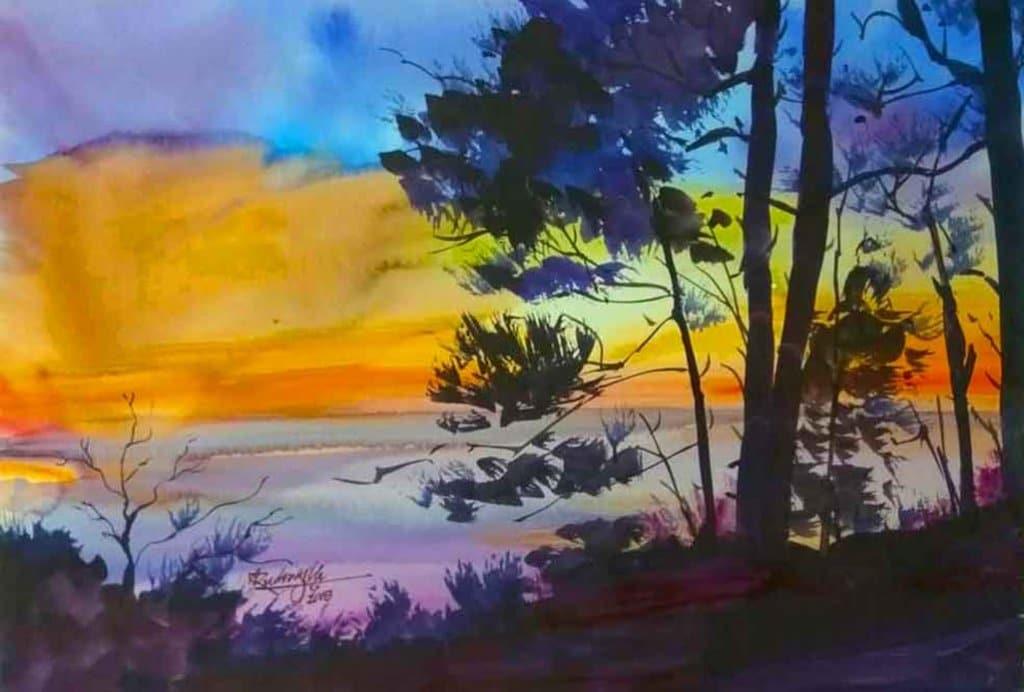 Sunrise Watercolor Painting by Ashwini Rudrakshi