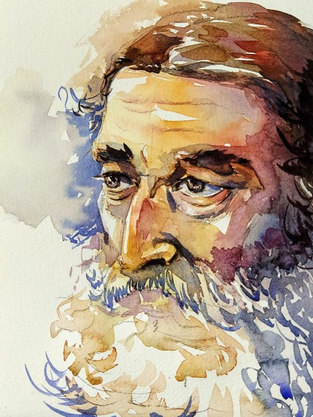 Watercolor Man Portrait by Ashwini Rudrakshi