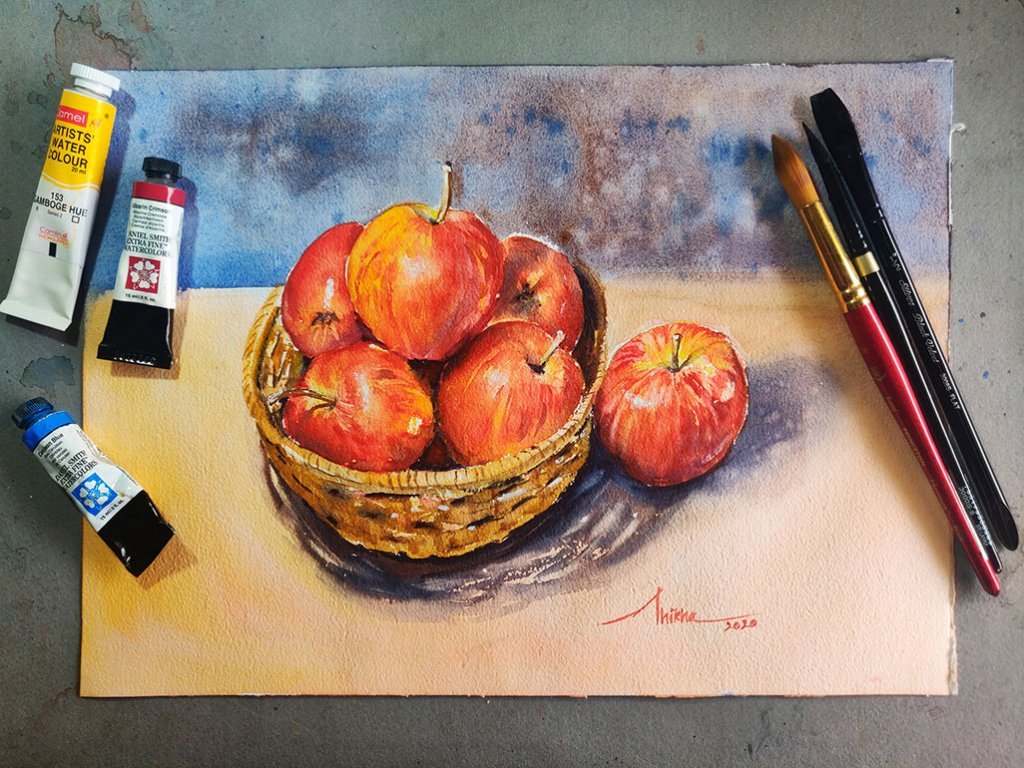 apples_in a basket_art 03 watercolour by Shikha Garg