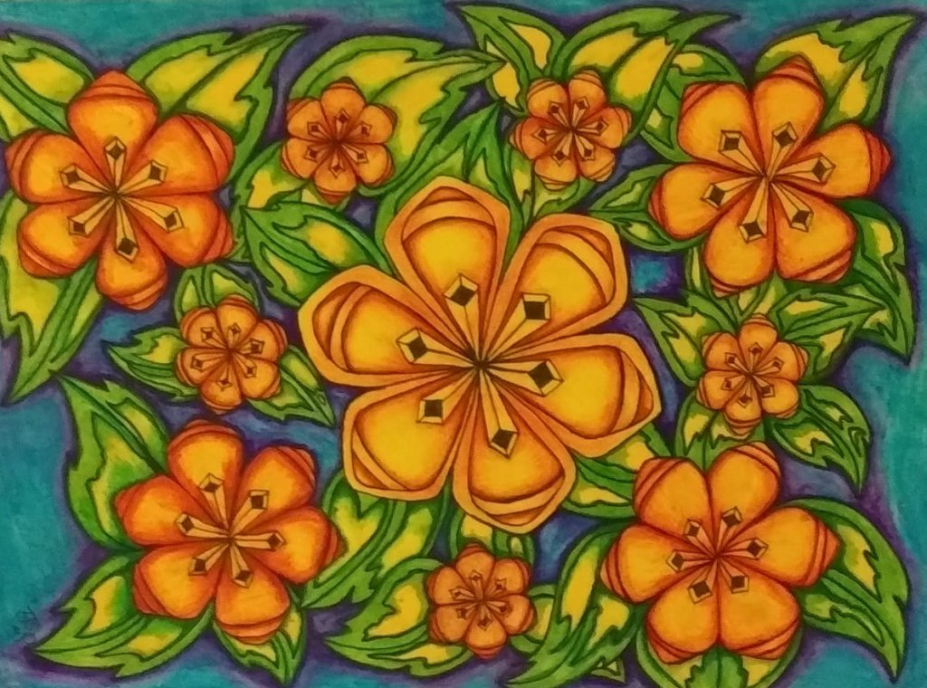 Flowers in ink flower creation