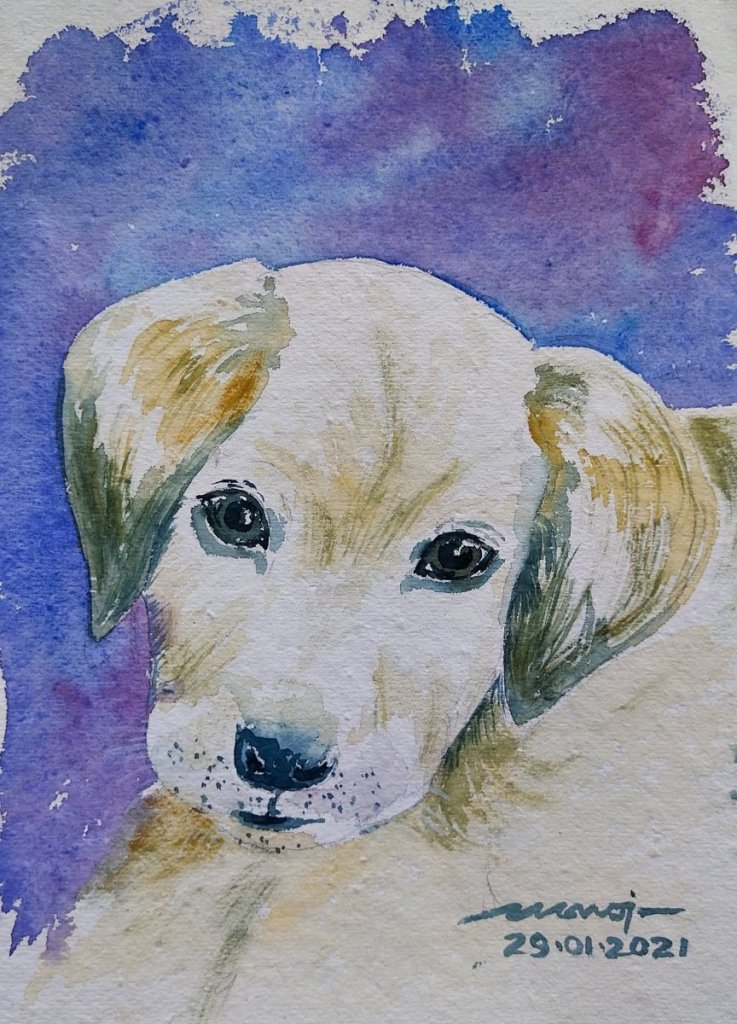 Dt.: 29.01.2021 Sub: PUPPY Watercolor painting on handmade paper inbound2366845334801586840
