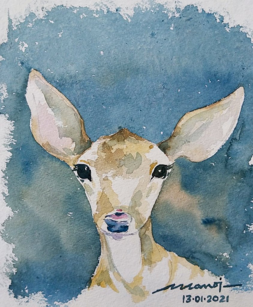 Dt: 13.01.2021 Sub: YOUNG Watercolor painting on handmade paper inbound7230055810507502209