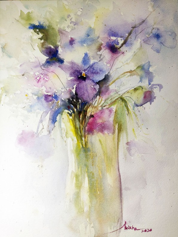 loose Orchids purple option 2 watercolour by Shikha Garg