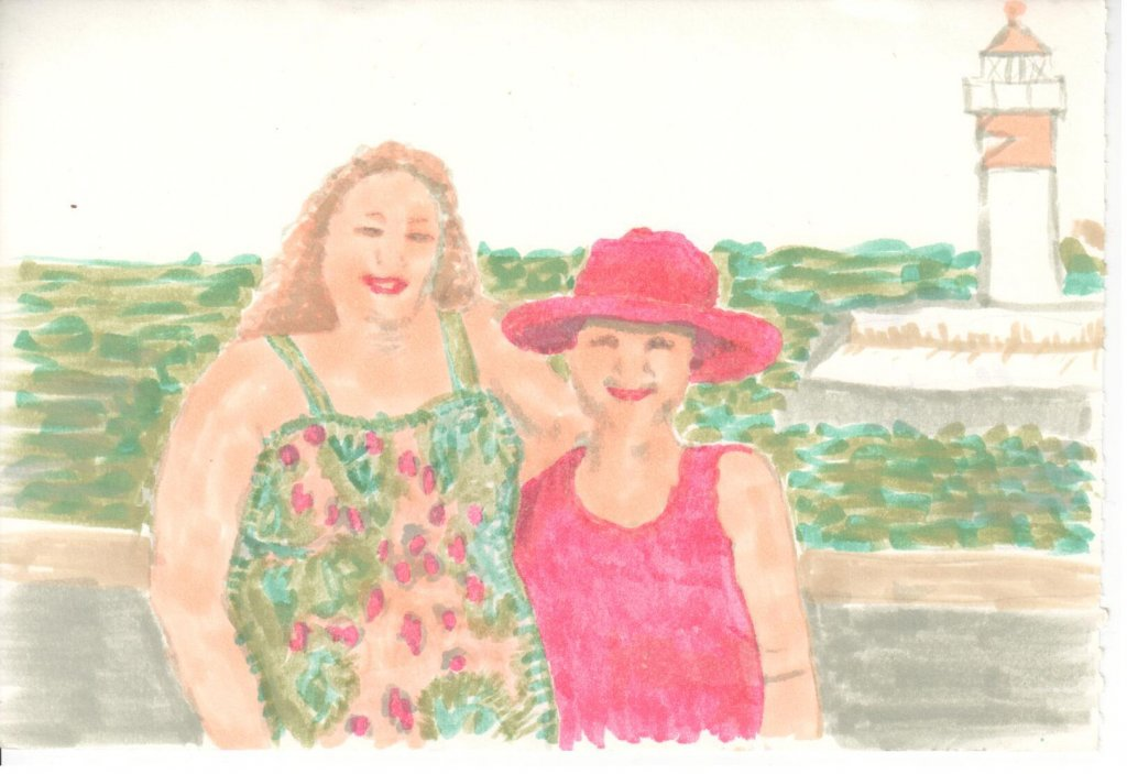 A drawing of a photo of two friends on a trip. I scanned this instead of taking a photo with my phon