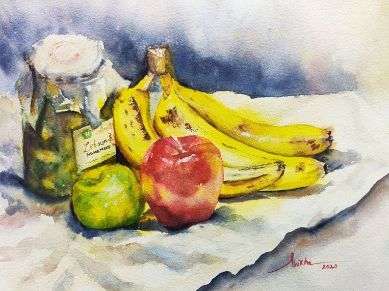 still life bananas watercolour by Shikha Garg