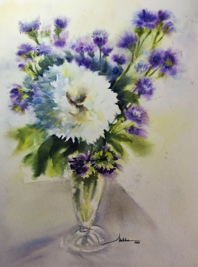 white crysanthemum watercolour by Shikha Garg