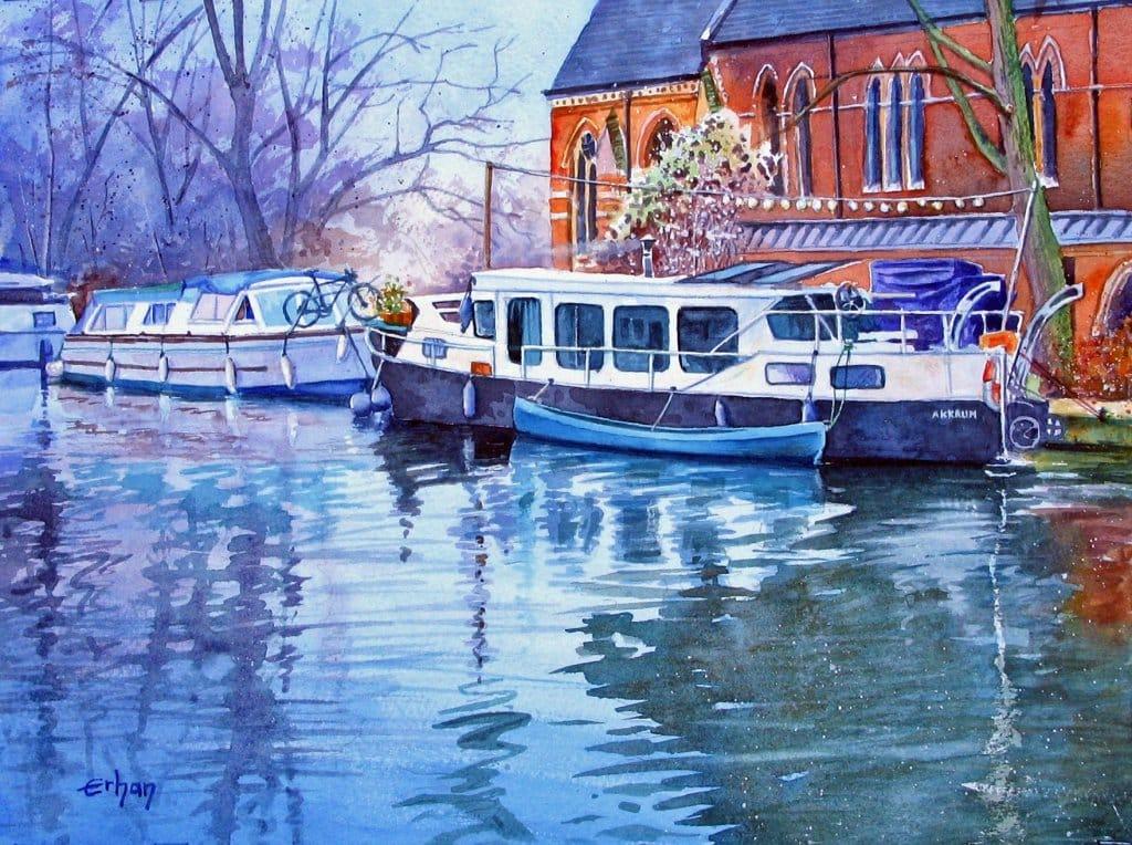Boathouses in Little Venice, London Watercolor on SW, 26x36cm 137565615_1286523581716791_82200221810