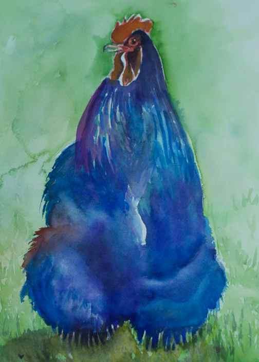 Big Blue Rooster Watercolor by Lisa Goell Sinicki