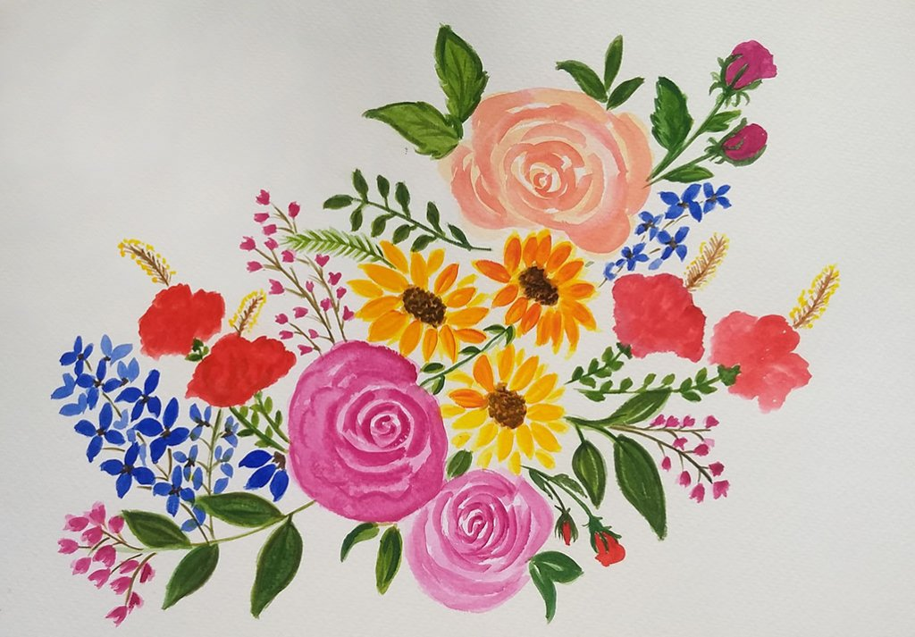 Colorful Flowers Watercolor Painting by Saumya Agrawal