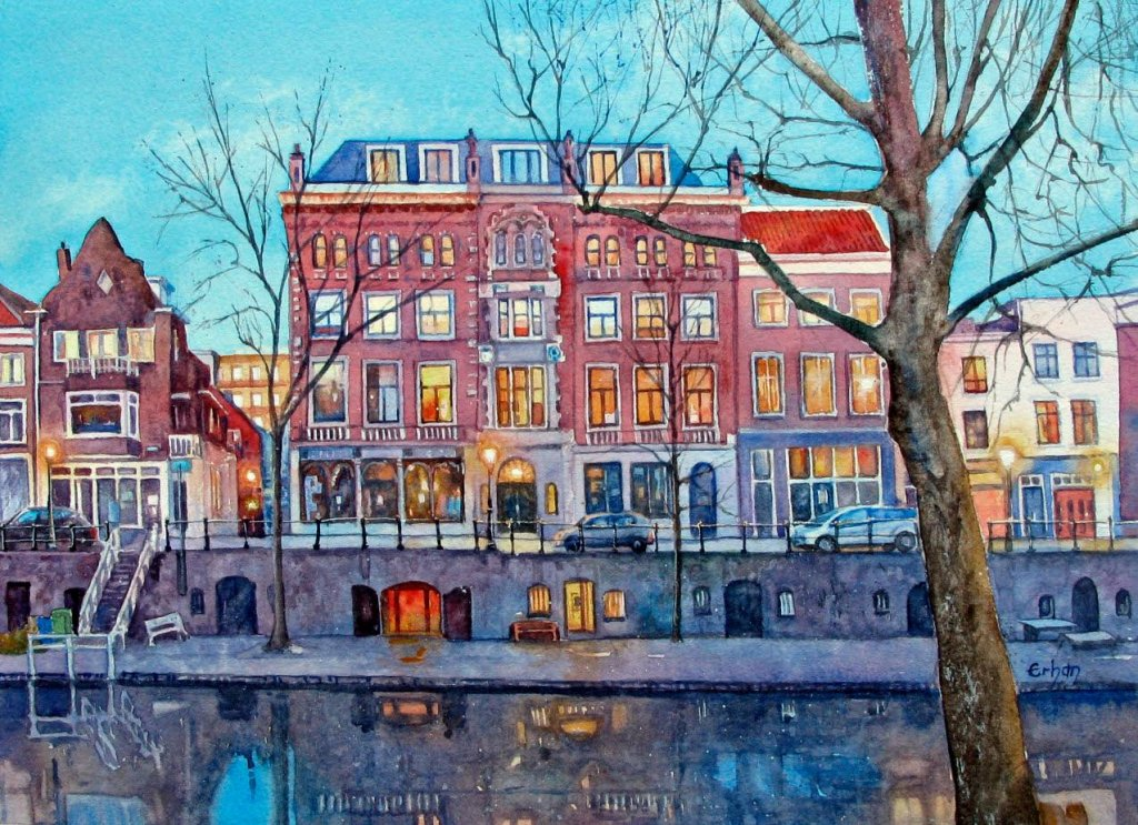 Canal houses in Utrecht, Holland Watercolor on Arches, 26x36cm Erhan-Canalhouses in Utrecht, Holland