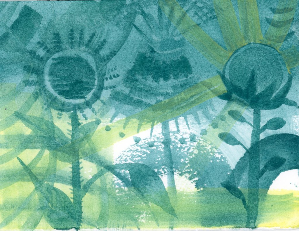 Green and blue watercolour painting
