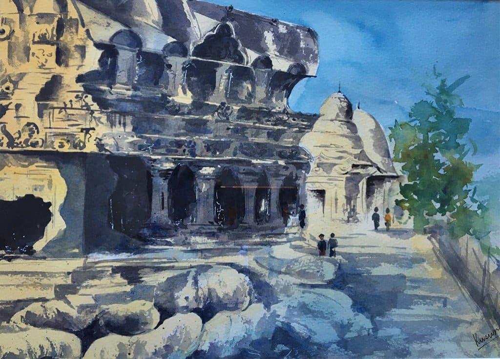 Mahablipuram watercolour painting by Kusum Shabong