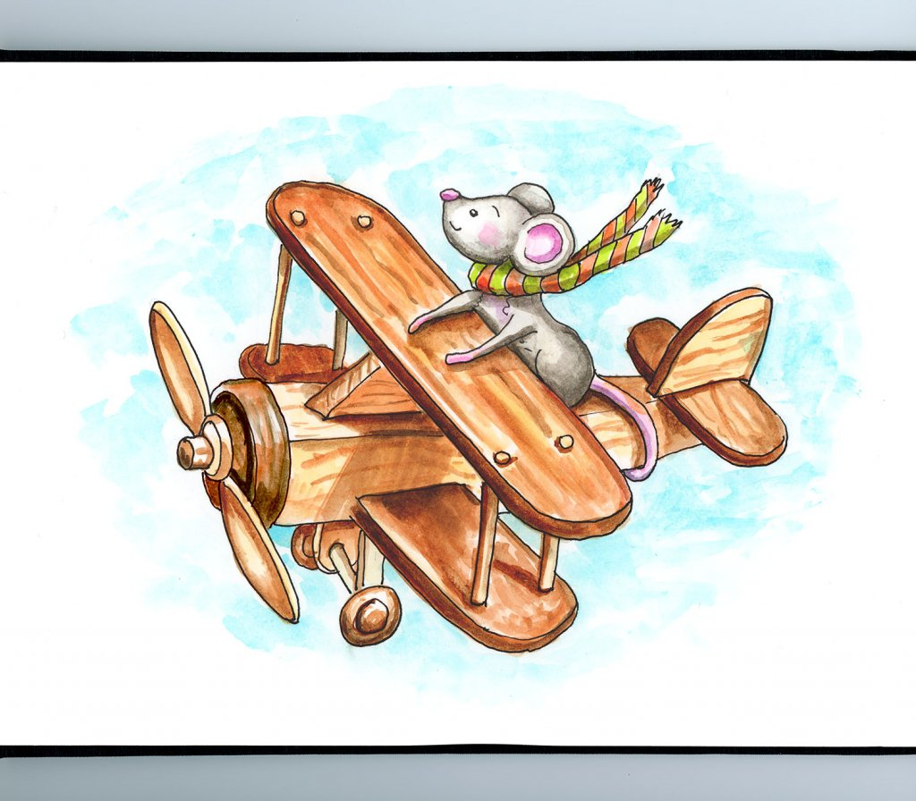 Mouse Flying Wooden Toy Airplane Watercolor Illustration