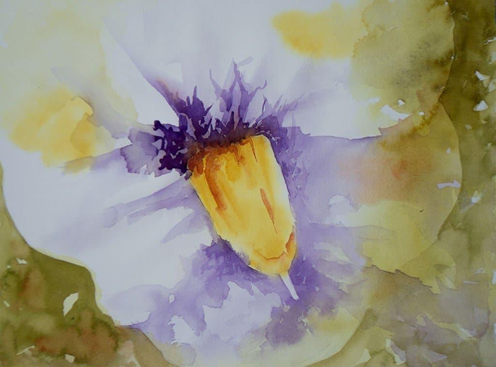 Singular Flower Watercolor by Lisa Sinicki