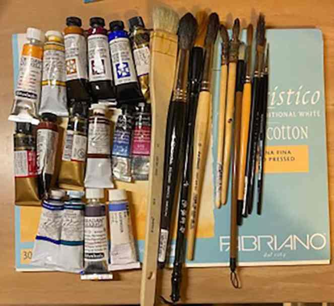 Watercolour painting supplies of Kusum Shabong