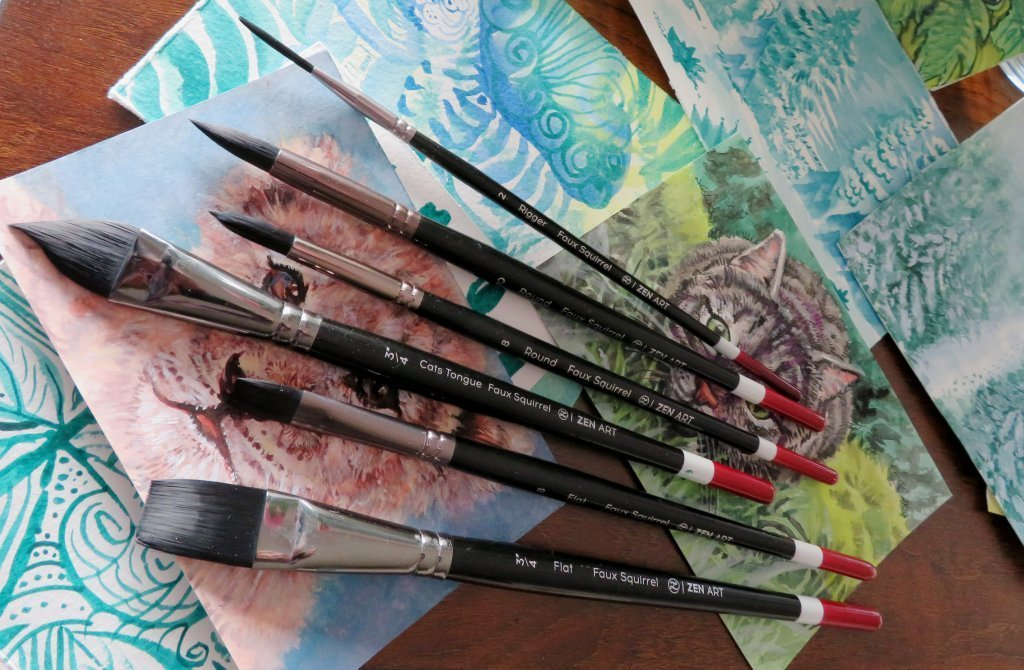 ZenArt Black Tulip Watercolor Brush Set Product Shot and Sample Paintings