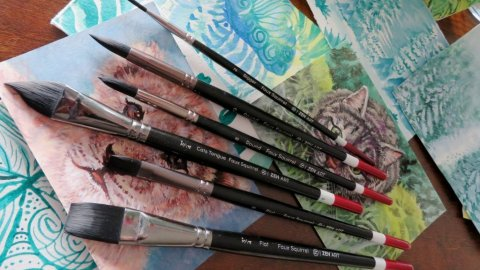ZenArt Black Tulip Watercolor Brush Set Product Shot and Sample Paintings
