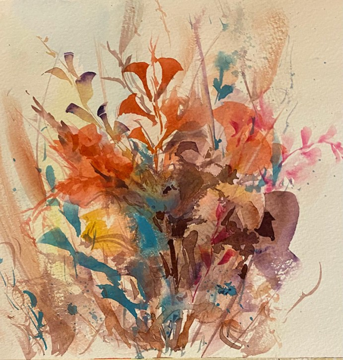 autumn flowers watercolour painting by Kusum Shabong