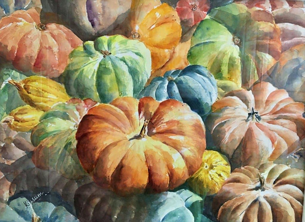 pumpkins watercolour painting by Kusum Shabong