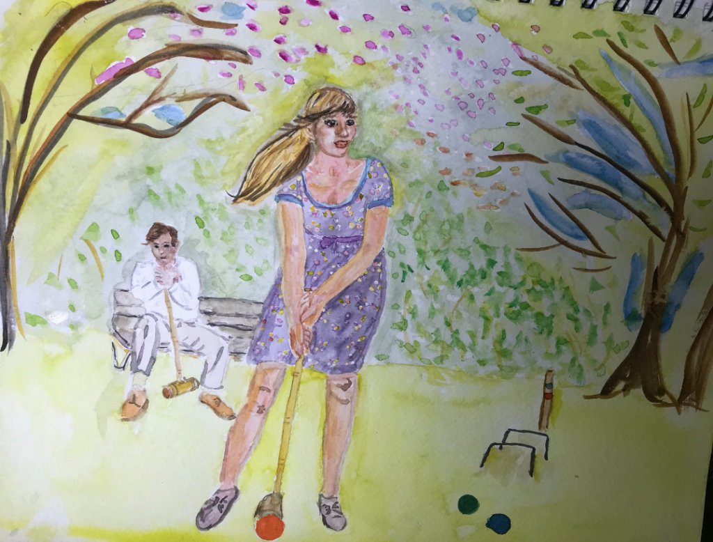 "A quick painting of ""hoops"" in a croquet game. Tried to impart a springtime feeling to this. I n"