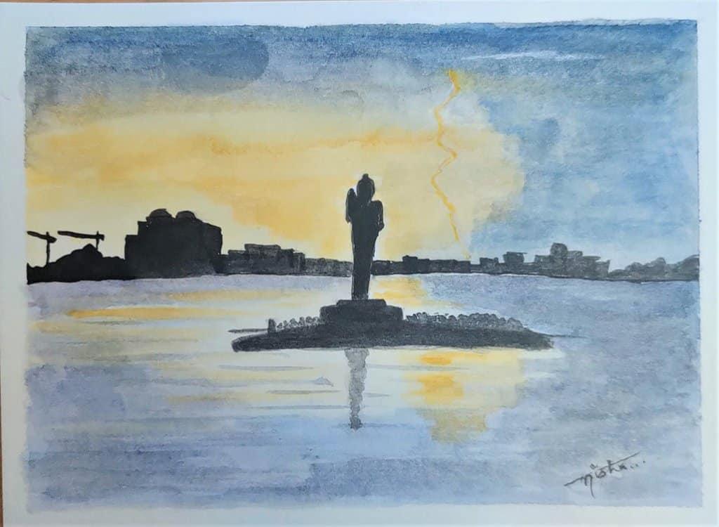 BuddhaStatue_watercolor by Nisha Gupta