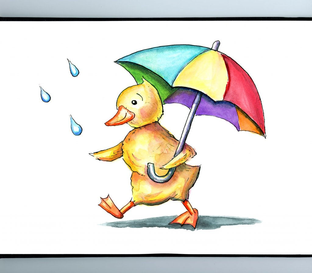 Duck Duckling Holding Rainbow Umbrella In The Rain Watercolor Illustration Sketchbook Detail