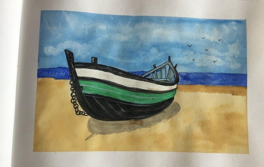 Small boat on a beach in watercolour E092D12C-BF58-49DA-ACDD-D61F2B278C0E