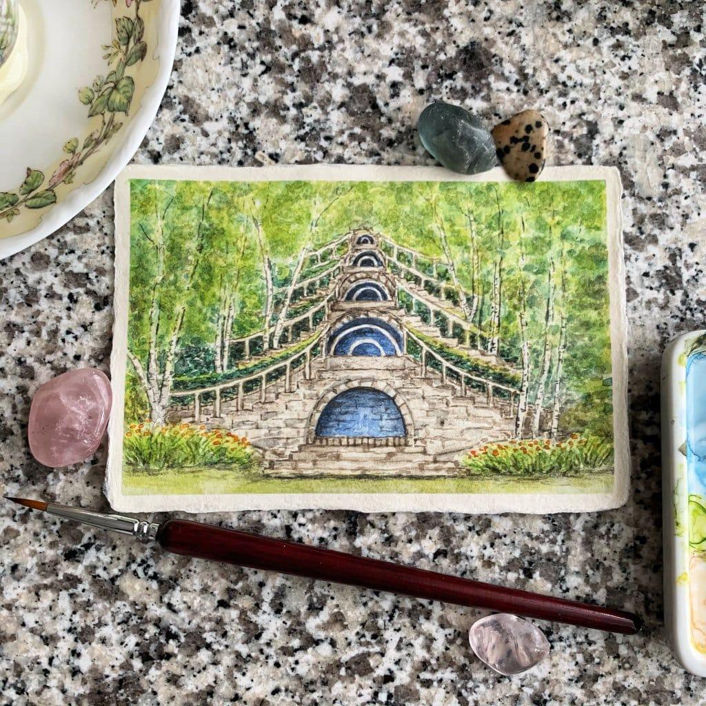 "Doodlewash x Design: Day 20 -""White Birch"", Naumkeag Gardens, Stockbridge, Massachusetts. At thi"