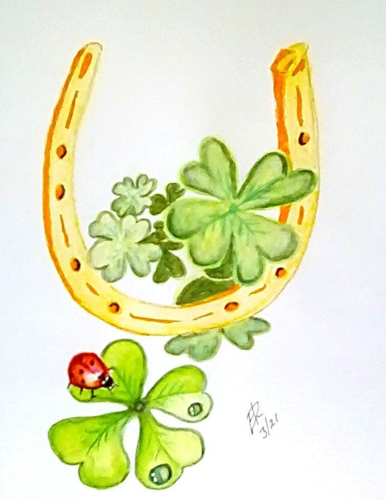 """Today's watercolor challenge """"Shamrock"""" Happy St. Patrick's day! IMG_2021031"""